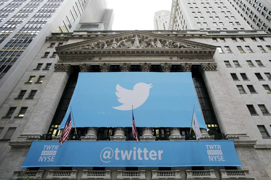 Twitter signage is draped on the facade of the New York Stock Exchange, Thursday, Nov. 7, 2013 in New York. Photo: Mark Lennihan, Associated Press
