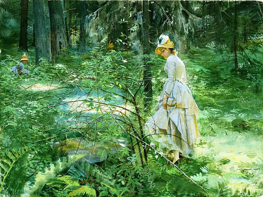 "Swedish master Anders Zorn's watercolor ""The Thorn Bush"" (1886) contains hints of erotic mischief in the snagged dress. Photo: Lars Berglund"