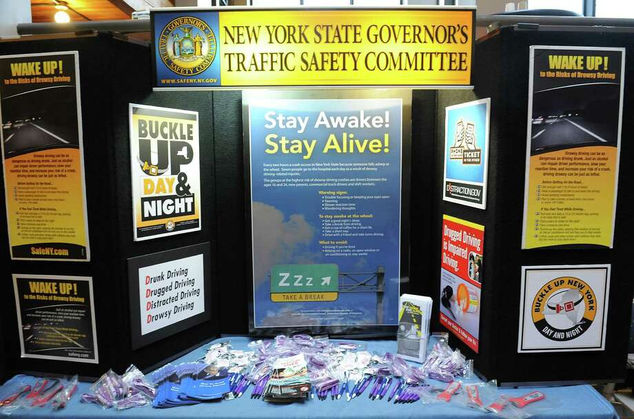 A display is set up in the campus center at Sage College of Albany for Drowsy Driving Awareness Day  Thursday, Nov. 7, 2013 in Albany, N.Y.  The New York State Partnership Against Drowsy Driving (NYPDD) and the Sage Alumni Association organized the event. (Lori Van Buren / Times Union) Photo: Lori Van Buren / 00024556A