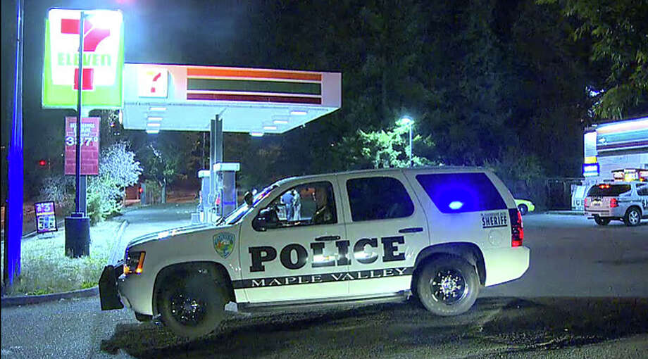 King County deputies respond to a 7-Eleven following a shooting at a nearby home in Maple Valley. The injured man is alleged to have been shot during a home invasion robbery.