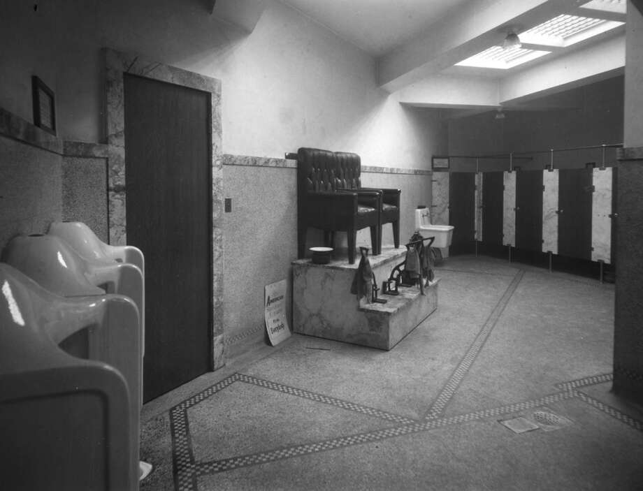 "This underground bathroom was part of the ""Westlake comfort station"" built in 1917. It was demolished in 1964. Photo: Seattle Municipal Archives"