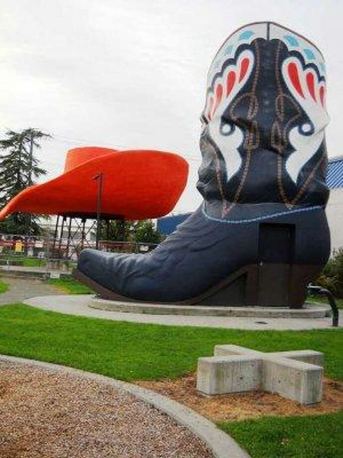 A Seattle landmark, Hat 'n' Boots is now part of Oxbow Park in Georgetown. The boots  now house park equipment and not bathrooms. Photo: City Of Seattle