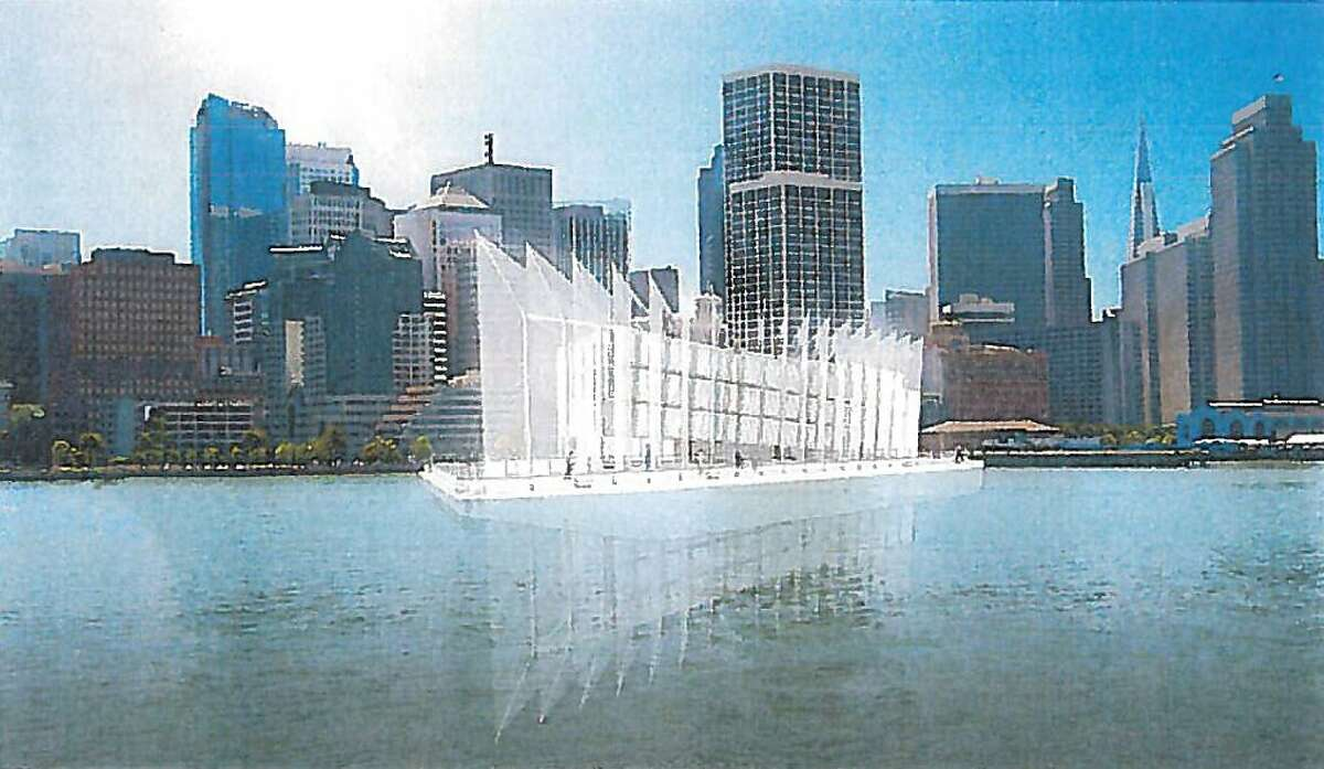 """An arist's' rendering from a document filed to the Port of San Francisco shows designs for a barge that has been moored at Treasure Island. The document, filed by By and Large, LCC., calls the barge an """"unprecedented artistic structure"""" and says that """"[t]he main goal of the project is to drive visitation to the waterfront."""""""