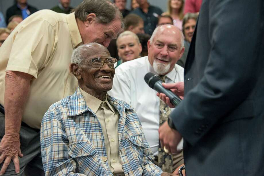 "Bastrop County native Richard Overton served in the Army during World War II in the South Pacific. Now 107, he still drives and walks without a cane, and says the key to his longevity was ""staying out of trouble."" Photo: Courtesy,  Justin Rand Of The General Land / Texas General Land Office"