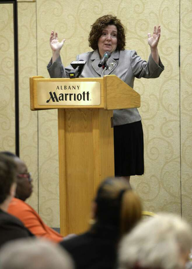 Robyn King, keynote speaker at the Girls Inc. of the Greater Capital Region's  Strong, Smart and Bold Breakfast speaks about bullying Thursday morning Nov. 7 2013, on a personal level as well as her counseling of clients at a gathering at the Marriott in Colonie, N.Y.  (Skip Dickstein / Times Union) Photo: Skip Dickstein / 00024559A