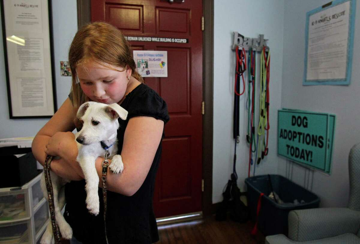 Julia Thompson, 10, holds her newly adopted dog, Malcolm, at K-9 Angels Rescue.