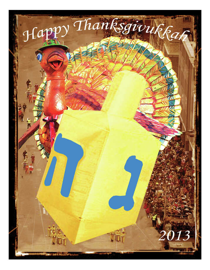 This image released by ModernTribe.com shows a Thanksgivukkah card celebrating Thanksgiving and Hanukkah.  (AP Photo/ModernTribe.com) Photo: HOEP / ModernTribe.com