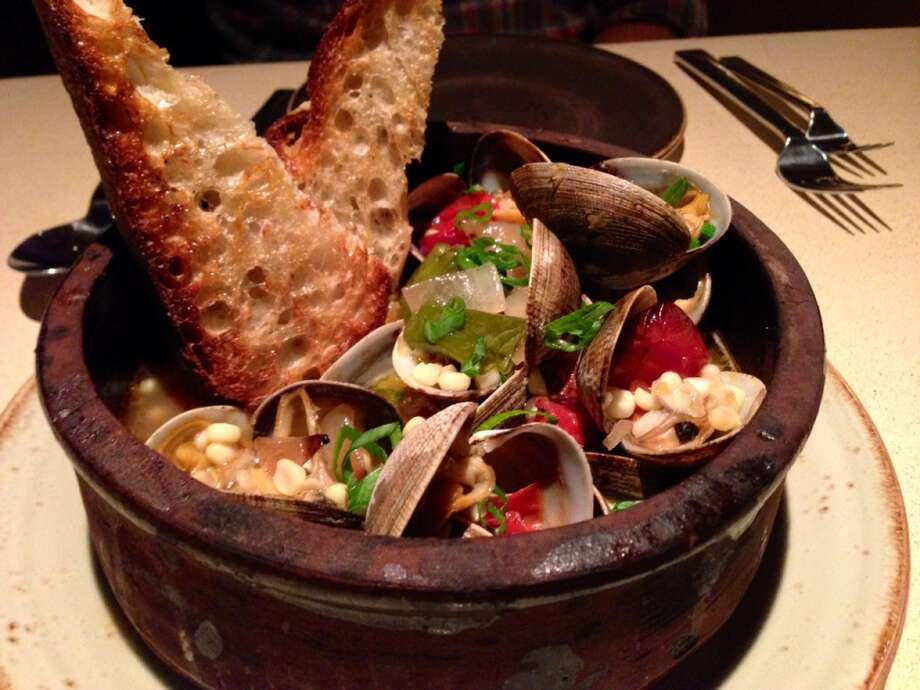 Wood-oven roasted clams at Fog City ($16)