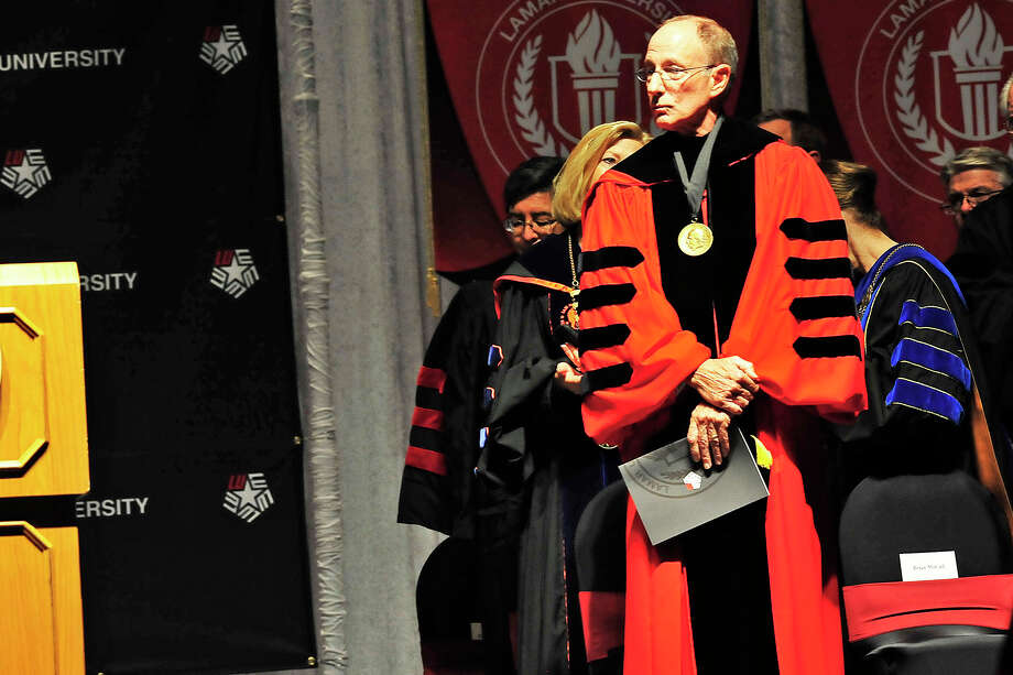 Lamar University formally installed its 15th president, Kenneth Evans, in a ceremony called an investiture at the Montagne Center, Thursday. Michael Rivera/@michaelrivera88