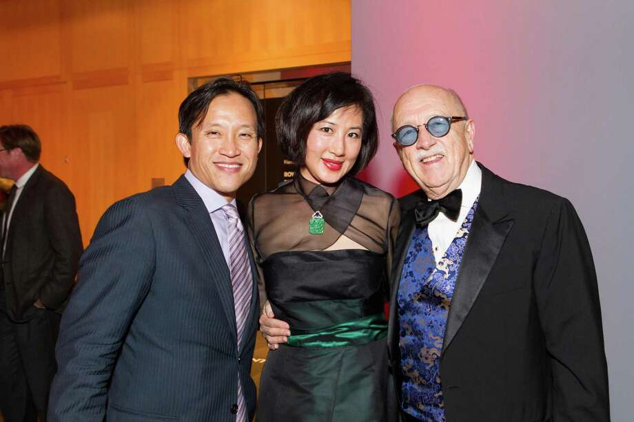David Chiu, Gorretti Lui and Wilkes Bashford at the Asian Art Museum's opening night gala for In Grand Style: Celebrations in Korean Art during the Joseon Dynasty on October 24, 2013. Photo: Claudine Gossett For Drew Altizer, Drew Altizer Photography / DREW ALTIZER PHOTOGRAPHY