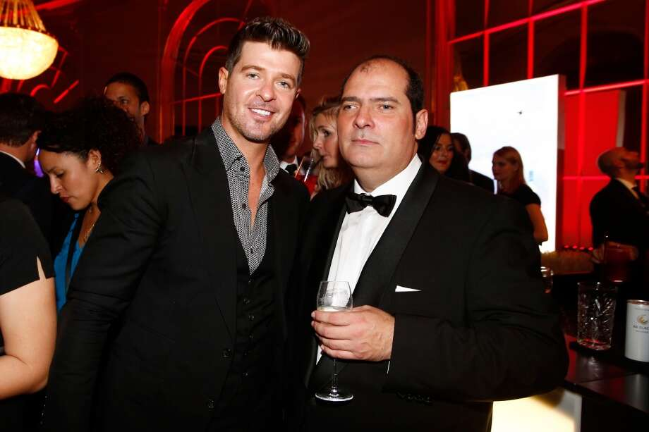 Robin Thicke (L) and Jose Redondo-Vega attend the after show party of the GQ Men Of The Year Award at Komische Oper on November 7, 2013 in Berlin, Germany.  (Photo by Andreas Rentz/Getty Images  for GQ) Photo: Andreas Rentz