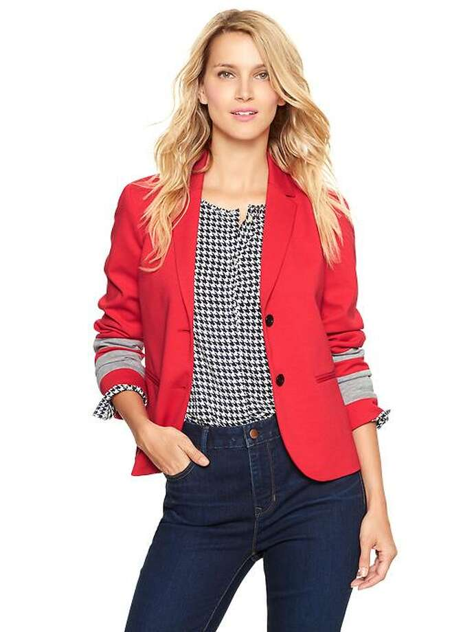 Colorblock-sleeve academy blazer, $70, Gap.com
