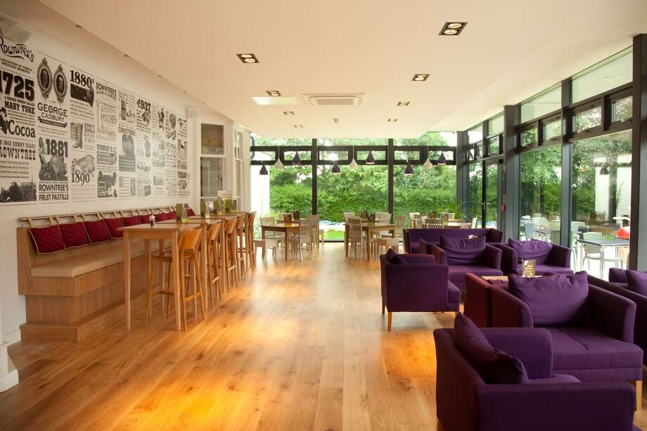 The recent renovation of YHA York includes a bar with an art installation tracing the Rowntree family, historic owners of the site. Photo: YHA