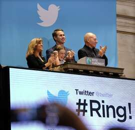 Vivienne Harr, the girl behind Make-A-Stand Lemon-Aid, which raises money to end child slavery, rings the opening bell for Twitter's IPO at the New York Stock Exchange.