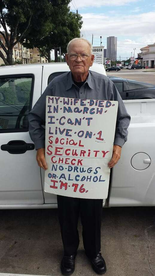 A man asking for help on a corner of Westheimer has attracted the attention of a group that is meeting in his honor. (Photo courtesy of Michael Cole)