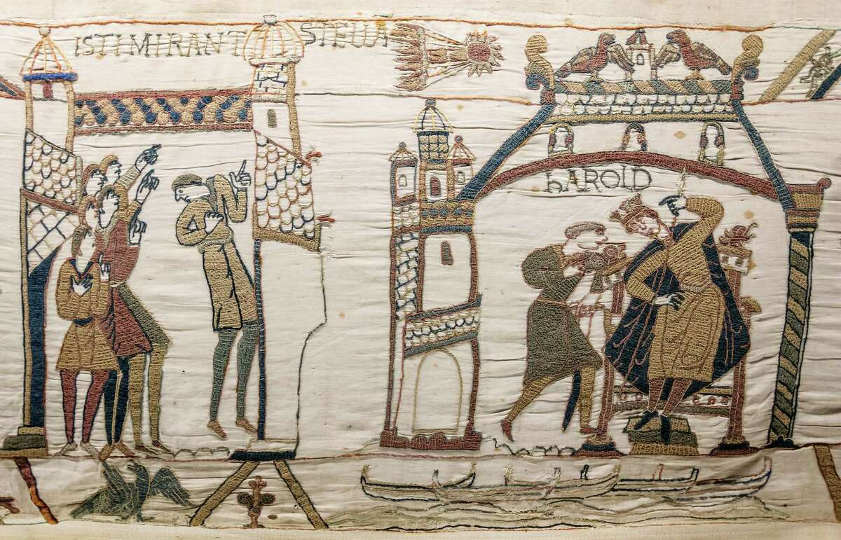 Records show that HalleyâÄôs Comet has been observed for over 2000 years. Confirmed sightings of the comet go back to 240 B.C. Shown here is the Bayeux Tapestry, commemorating the Norman conquest of England in 1066 A.D. HalleyâÄôs comet appeared in the sky shortly before the battle, as depicted at top center on the tapestry.