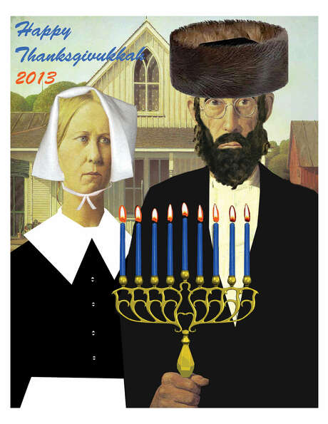 "A ""Happy Thanksgivukkah"" poster is a spoof on the iconic ""American Gothic"" painting by Grant Wood, featuring a Hasidic man as the farmer holding a menorah. Photo: Associated Press"