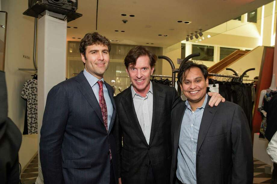Zachary Bogue, Bill Brady and Imran Khan at Barneys New York in San Francisco to honor artist Leo Villareal and The Bay Lights on November 7, 2013. Photo: Drew Altizer Photography/SFWIRE, Drew Altizer Photography / ©2013 by Drew Altizer, all rights reserved