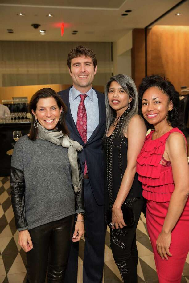 Susan Swig, Zachary Bogue, Deepa Pakianathan, and Tanya Powell at Barneys New York in San Francisco to honor artist Leo Villareal and The Bay Lights on November 7, 2013. Photo: Drew Altizer Photography/SFWIRE, Drew Altizer Photography / ©2013 by Drew Altizer, all rights reserved