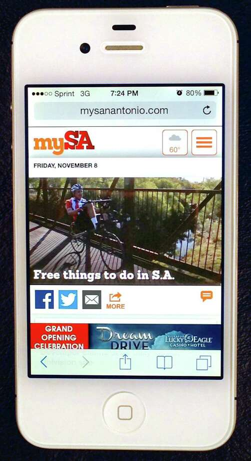The newly launched mySanAntonio.com mobile site is seen Friday Nov. 8, 2013 on a cell phone. Photo: William Luther, San Antonio Express-News / © 2013 San Antonio Express-News