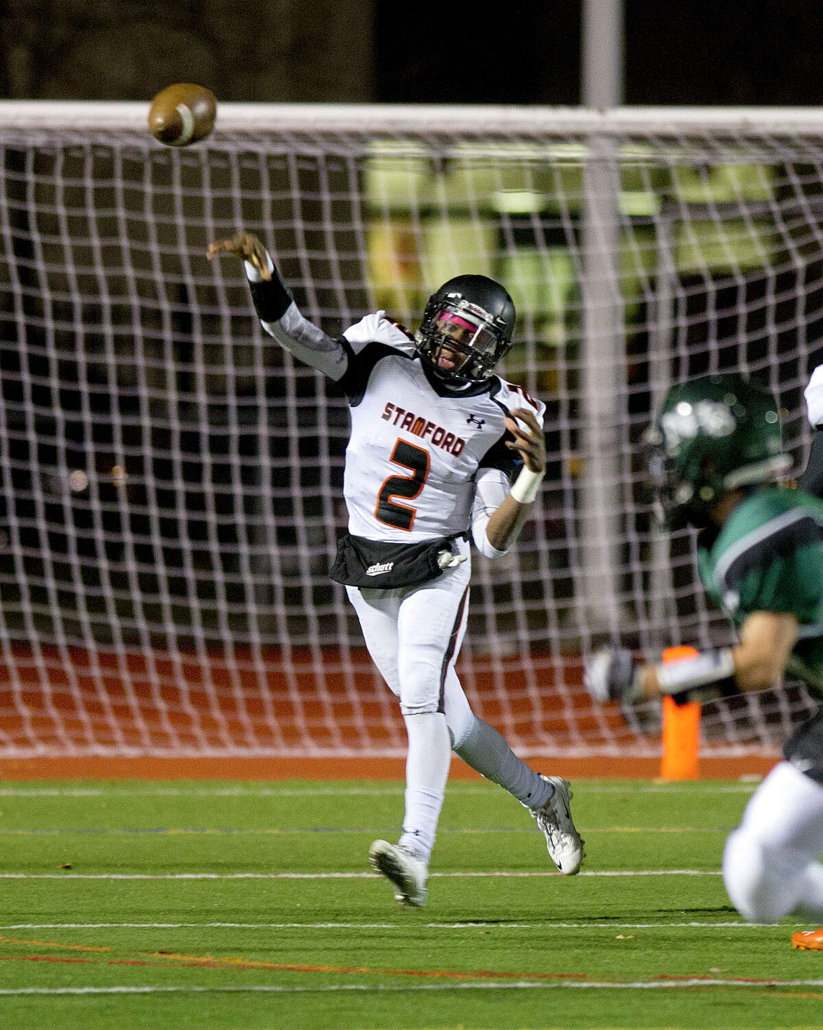 Stamford's Jalen Brown throws a pass during Friday's football game in Norwalk, Conn., on November 8, 2013.