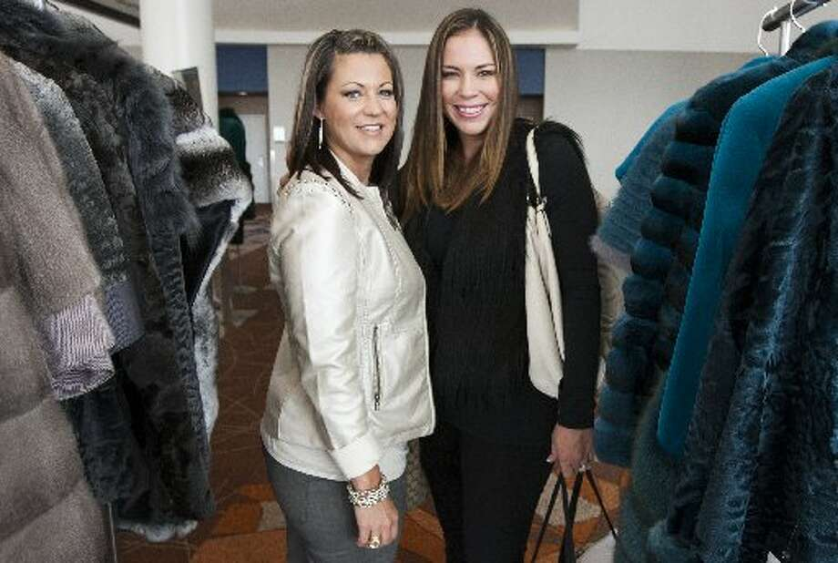 Leslie Riggle and Jennifer Morgan in Saks' pop-up fur salon at the 2013 Nutcracker Market. Photo: J. Patric Schneider