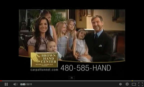 Michael Brown showcased his family in long-running television commercials for his carpal tunnel clinics. Photo: You Tube