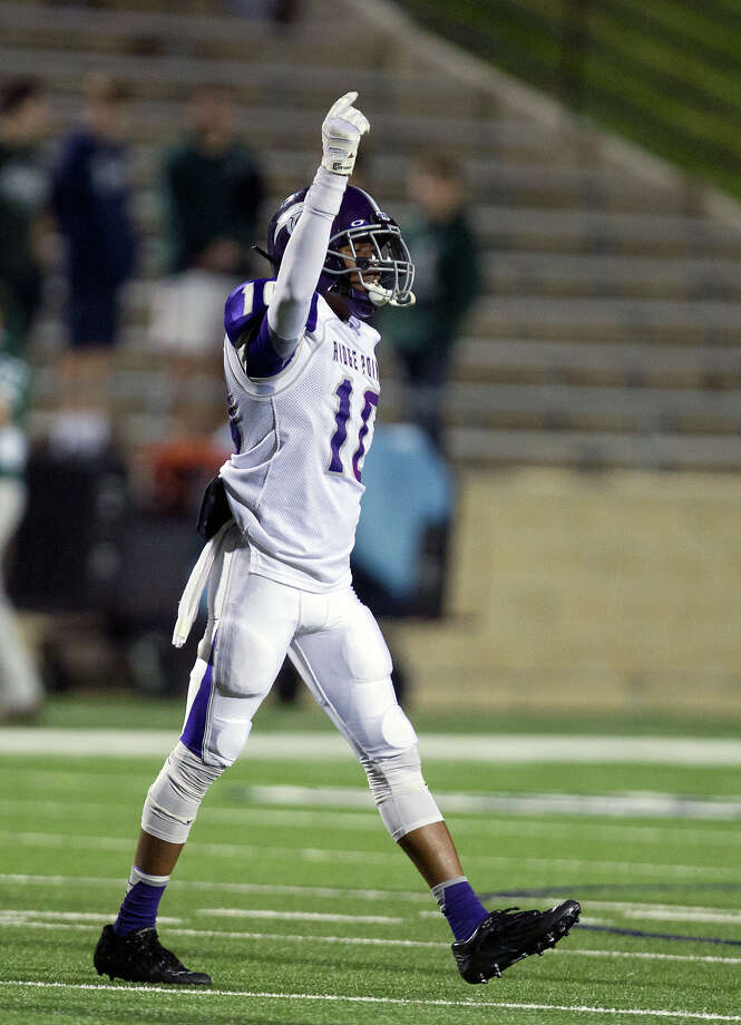 Ridge Point High School's Jordan Tolbert reacts after his team intercepted a pass during the first quarter of a football game against Stratford High School at Darrell Tull Stadium, Friday, Nov. 8, 2013, in Houston. Photo: Cody Duty, Houston Chronicle / © 2013 Houston Chronicle
