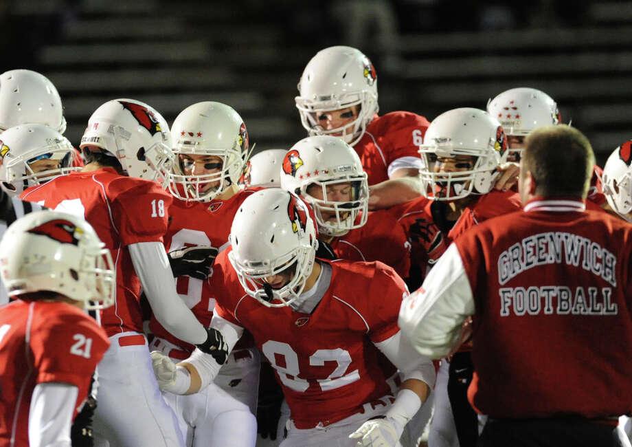 High school football game between Greenwich High School and Westhill High School at Greenwich, Friday, Nov. 8, 2013. Photo: Bob Luckey / Greenwich Time