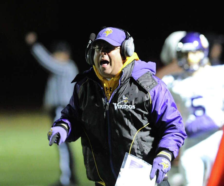 Westhill football coach Frank Marcucio during the High school football game between Greenwich High School and Westhill High School at Greenwich, Friday, Nov. 8, 2013. Photo: Bob Luckey / Greenwich Time