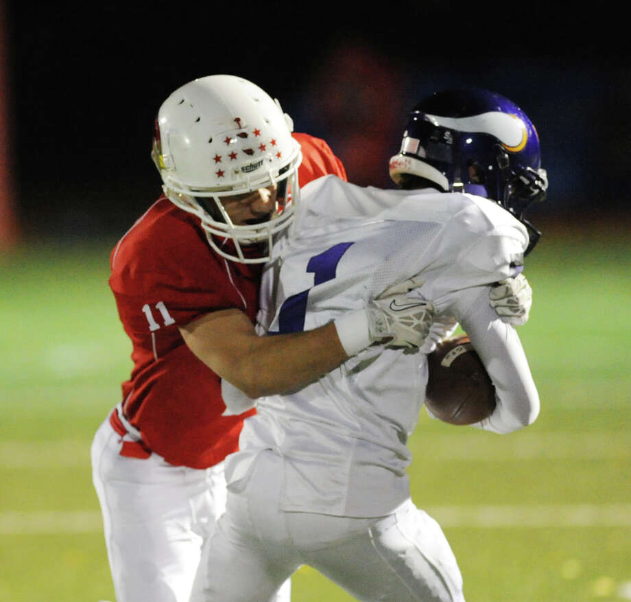 High school football game between Greenwich High School and Westhill High School at Greenwich, Friday, Nov. 8, 2013. Photo: Bob Luckey / Greenwich Time