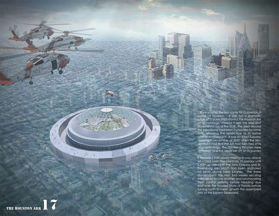 "The whimsical ""Houston Ark"" proposal envisions the Dome as a preservation capsule that would float amid a big-time Houston flood. Photo: Courtesy,  Architect's Newspaper"