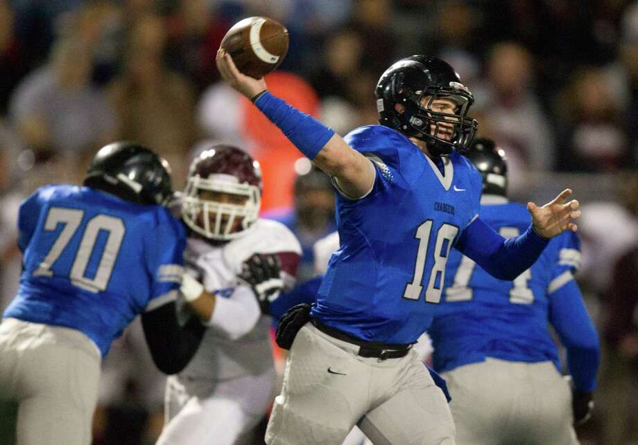 Clear Springs quarterback Zach Cripps (18) throws during the first half of a high school football game against Clear Creek at CCISD Veterans Stadium on Friday, Nov. 8, 2013, in League City. Photo: J. Patric Schneider, For The Chronicle / © 2013 Houston Chronicle