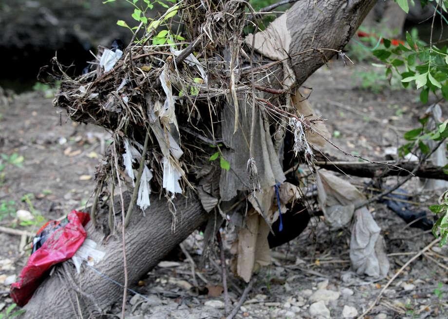 Plastic bags and trash are strewn Friday November 8, 2013 across trees and plants in the Olmos basin area next to Jones Maltberger road. Photo: JOHN DAVENPORT, SAN ANTONIO EXPRESS-NEWS / ©San Antonio Express-News