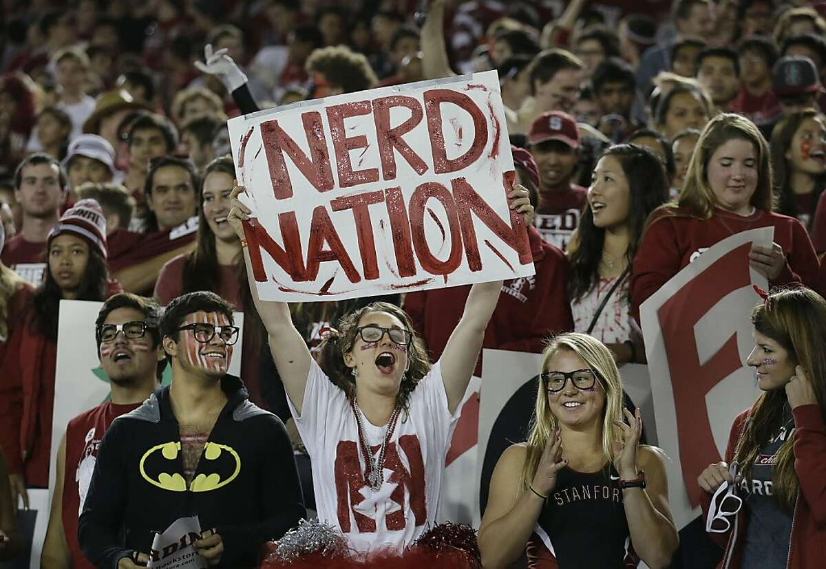 Stanford fans cheer before an NCAA college football game against Oregon in Stanford, Calif., Thursday, Nov. 7, 2013. (AP Photo/Jeff Chiu)