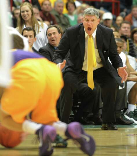 Siena head coach Jimmy Pastos get riled up over a play during a basketball game against UAlbany at t