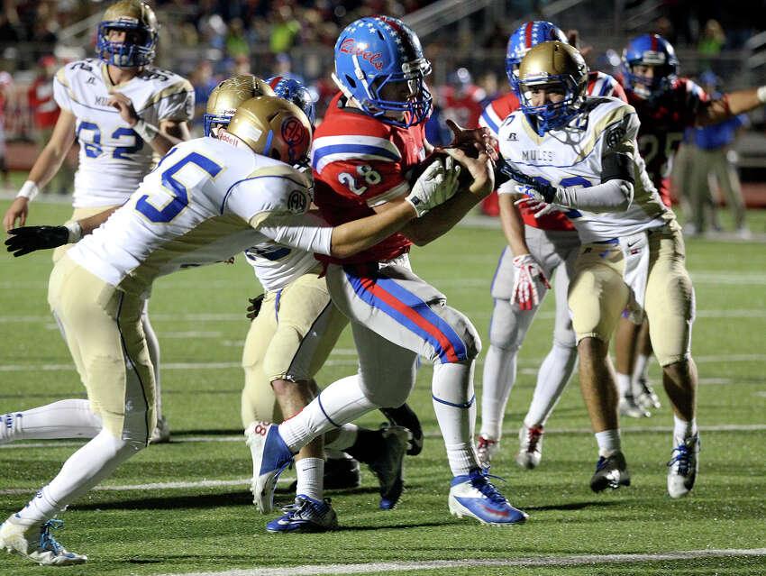 Rebel running back Cody Gandy scores the winning touchdown as Hays hosts Alamo Heights at Bob Shelton Stadium on November 8, 2013.