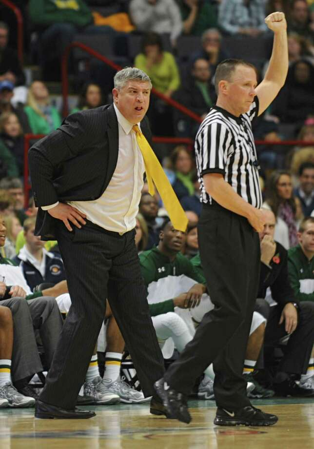 Siena head coach Jimmy Pastos shows his feelings over a referee's call during a basketball game against UAlbany at the Times Union Center  Friday, Nov. 8, 2013 in Albany, N.Y. (Lori Van Buren / Times Union) Photo: Lori Van Buren / 00024543A