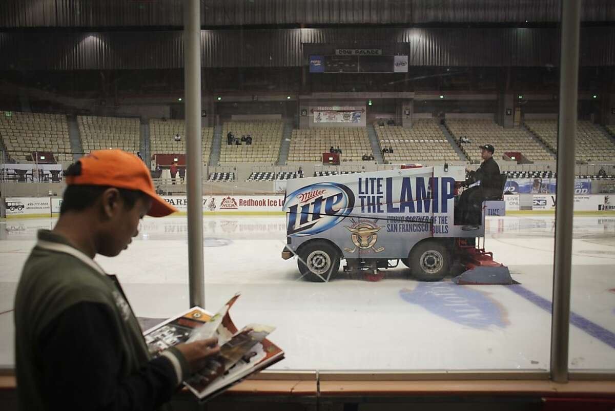 A zamboni on the ice during the San Francisco Bulls opening night match against the Bakersfield Condors at Cow Palace in San Francisco on November 8th 2013.