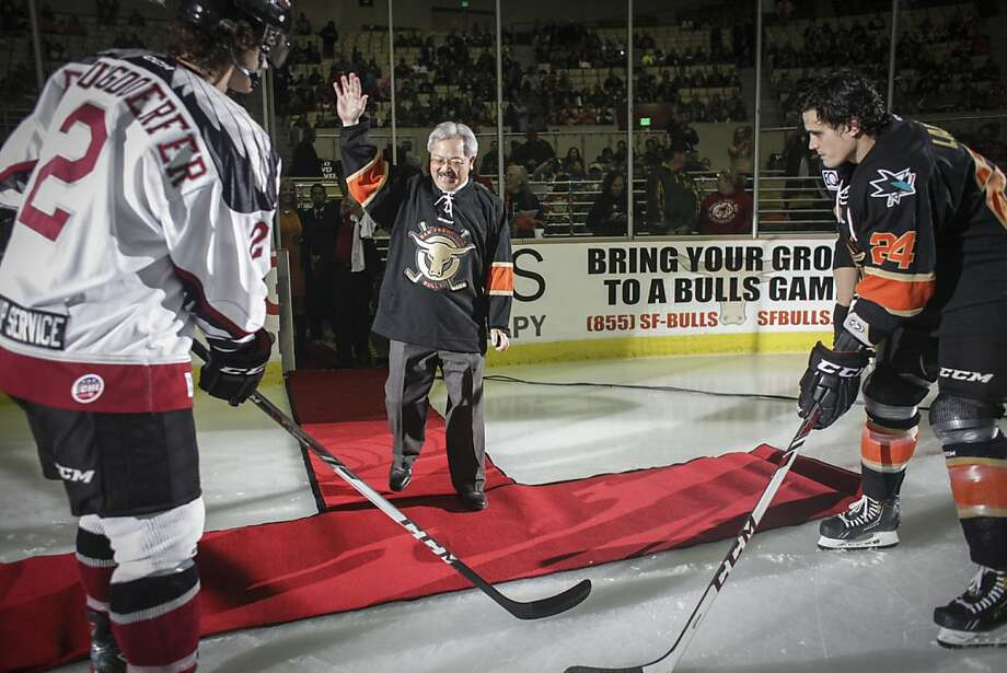 Edwin M. Lee, Mayor of San Francisco, walks out on to the ice to drop the puck for the first face-off of the San Francisco Bulls opening night match against the Bakersfield Condors at Cow Palace in San Francisco on November 8th 2013. Photo: Sam Wolson, Special To The Chronicle