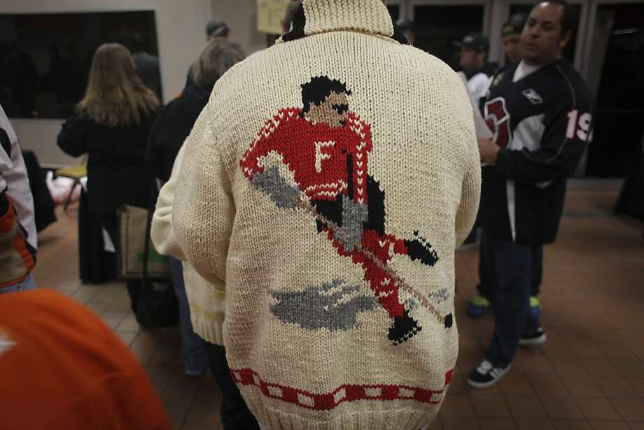 A old fashion hockey sweatshirt worn by a fan during the San Francisco Bulls opening night match against the Bakersfield Condors at Cow Palace in San Francisco on November 8th 2013. Photo: Sam Wolson, Special To The Chronicle