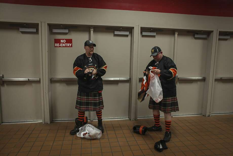 "Brian Davis, left, and Charlie Seufert, ""the Kilted cousins"" during the San Francisco Bulls opening night match against the Bakersfield Condors at Cow Palace in San Francisco on November 8th 2013. Photo: Sam Wolson, Special To The Chronicle"