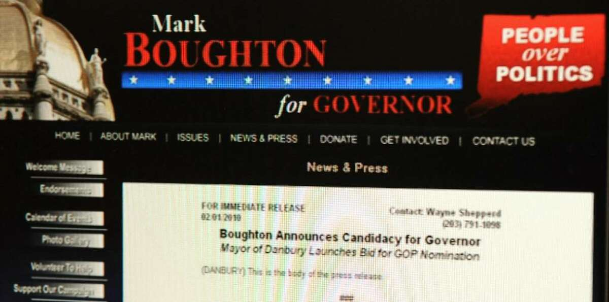 Danbury Mayor Mark Boughton's website displaying his intentions to run for Governor of Connecticut, which he will be announcing on Monday. The website announcement was down on Friday afternoon.