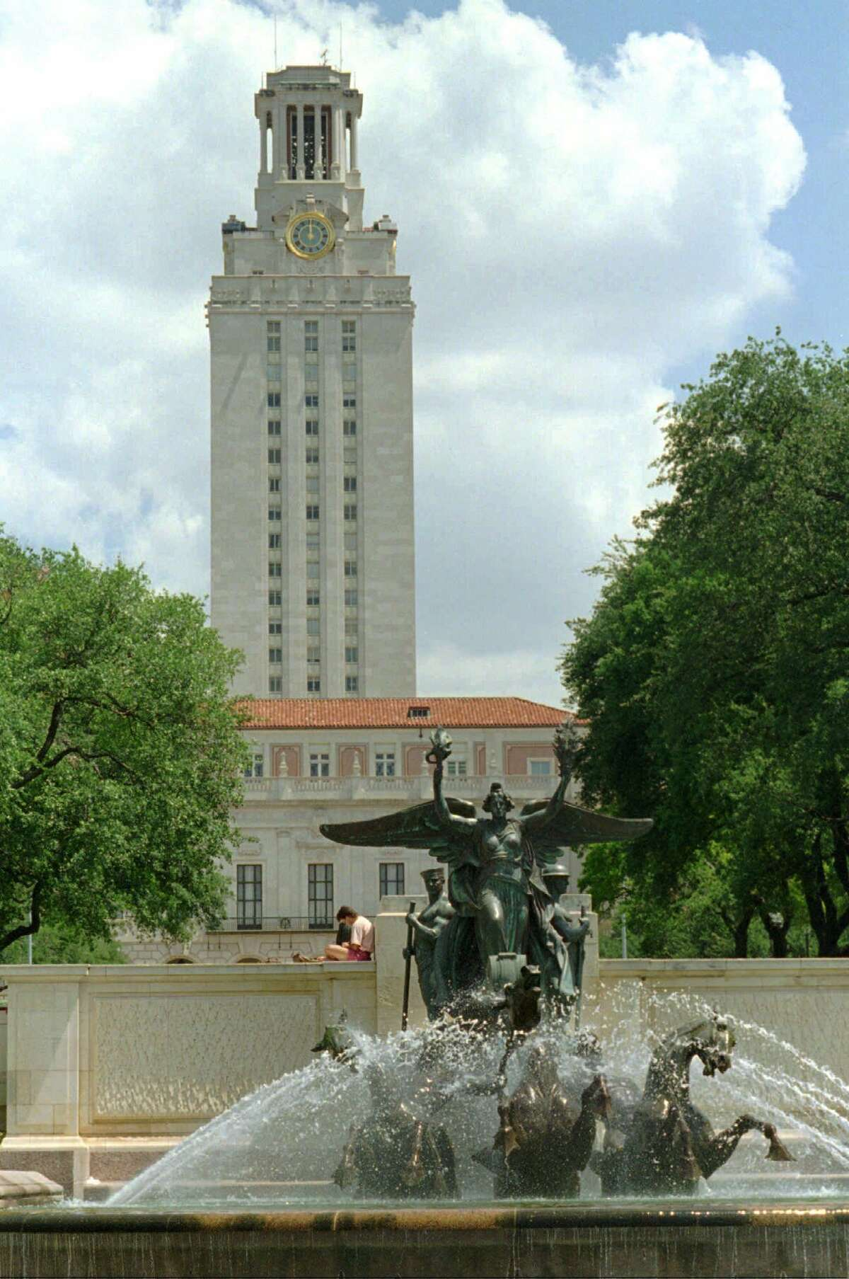 FILE -- The main tower at the University of Texas is shown in this July 1, 1996 file photo in Austin, Texas. The University of Texas board of regents voted unanimously Thursday, Nov. 12, 1998 to reopen the school's landmark clocktower, once the site of one of the nation's worst mass murders. (AP Photo/Harry Cabluck)