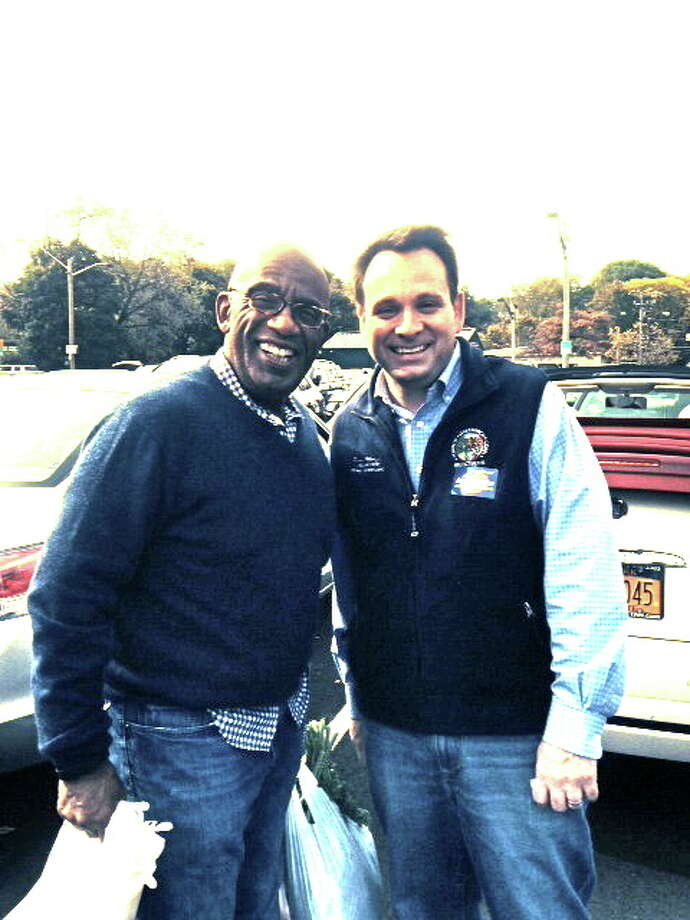 "NBC ""Today"" show co-anchor Al Roker and Selectman Drew Marzullo meet up at the Farmers Market at the commuter parking lot in Greenwich on Oct. 26. Photo: File Photo, Greenwich Time / Greenwich Time"