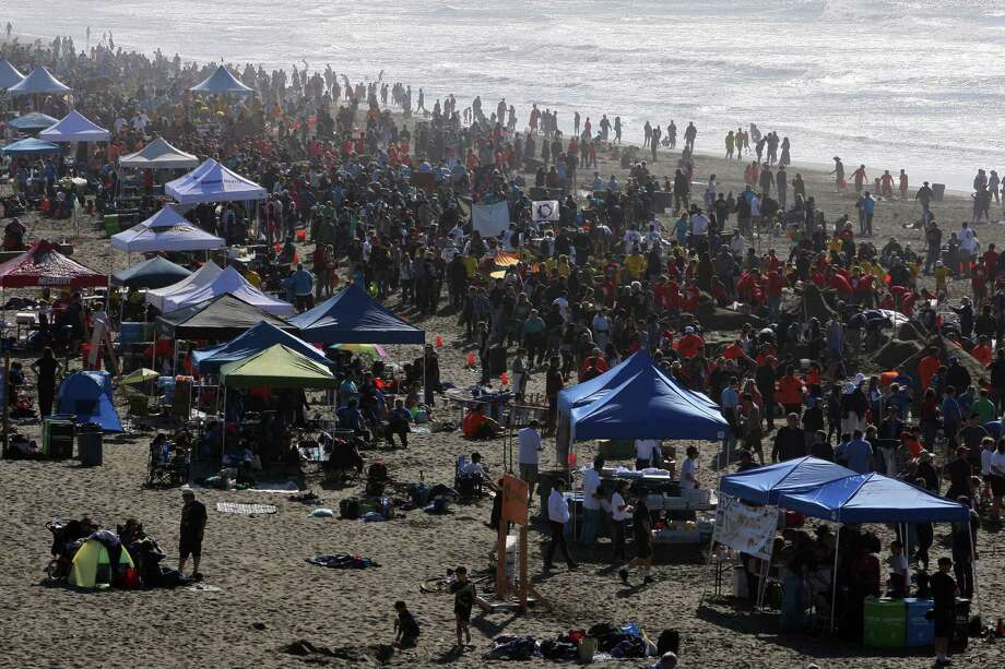 The Leap Sand Castle Contest at Ocean Beach is seen from an outlook along Point Lobos Ave in San Francisco, Calif. on Saturday, Nov. 9, 2013. Photo: Raphael Kluzniok / The Chronicle / ONLINE_YES