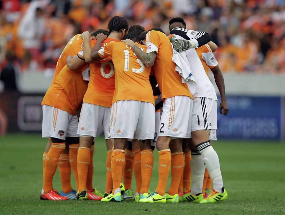 Houston Dynamo players before game one of the MLS Eastern Conference Finals between the Houston Dynamo and the Sporting KC at BBVA Compass Stadium Saturday, Nov. 9, 2013, in Houston. Photo: James Nielsen, Houston Chronicle / © 2013  Houston Chronicle
