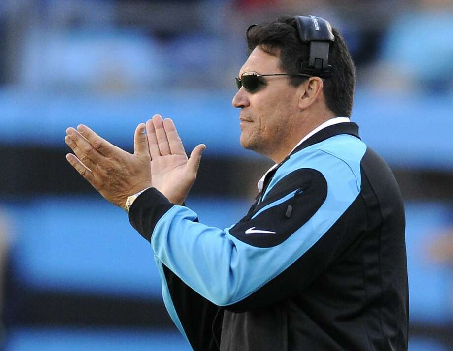 Panthers head coach Ron Rivera, like 49ers head coach Jim Harbaugh, played for the Bears under coach Mike Ditka. Photo: Mike McCarn, Associated Press