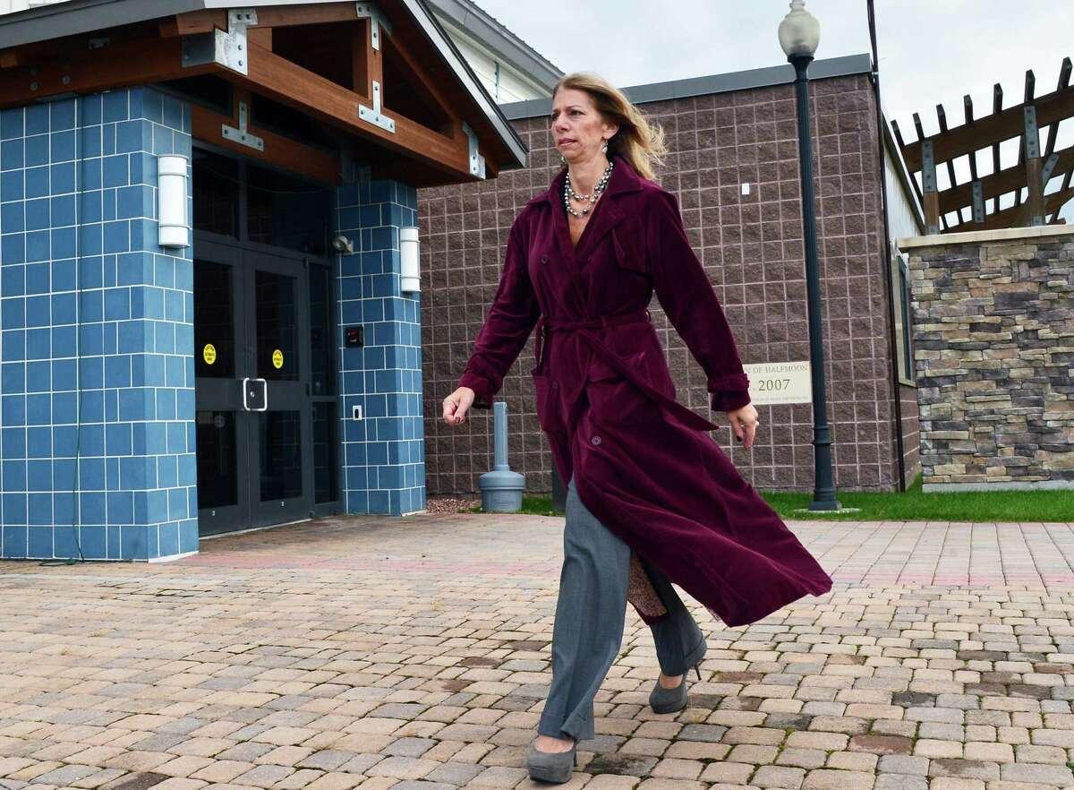 Deanna Stephenson outside Halfmoon Town Hall Friday Nov. 8, 2013, in Halfmoon, NY. (John Carl D'Annibale / Times Union)