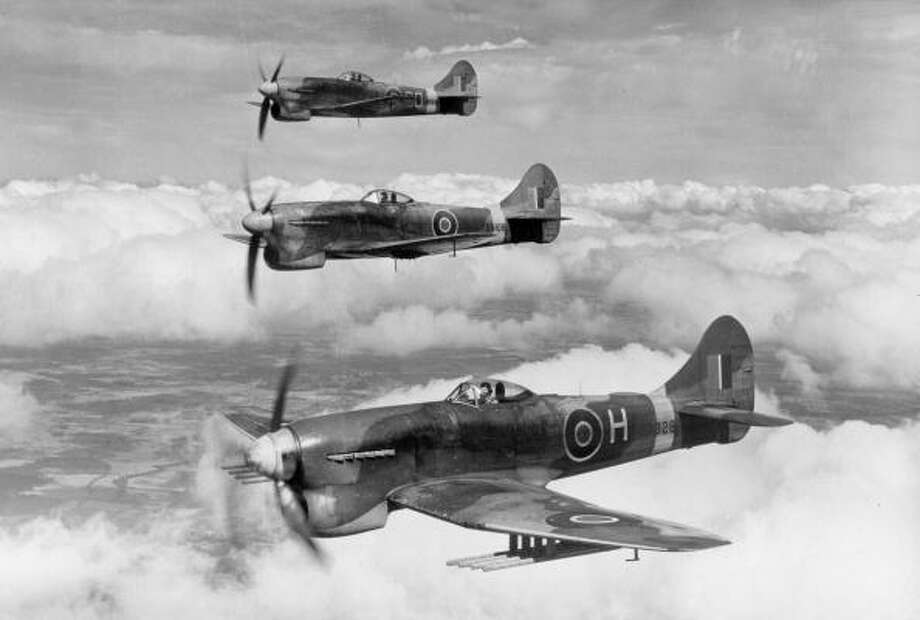 "A section of RAF Hawker Tempests in echelon starboard formation, The ""Tempest"" saw service towards the end of World War Two and the later variants were finally phased out in 1953. Photo: Popperfoto, Getty Images / Popperfoto"